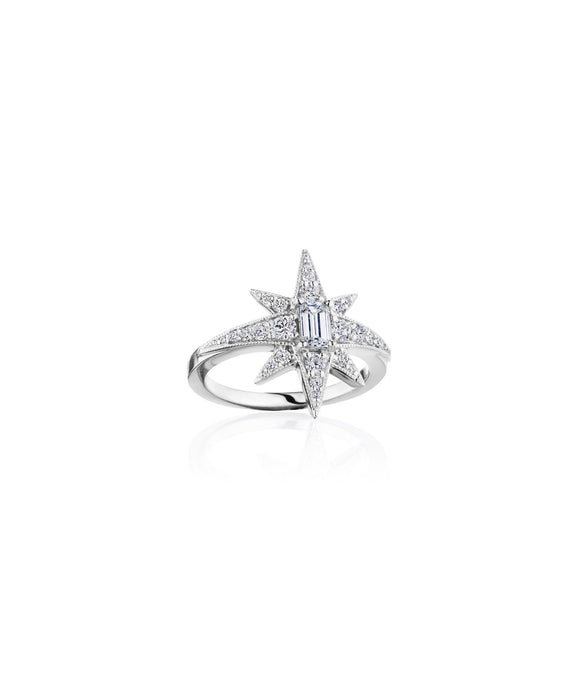Starburst ring with emerald cut diamond