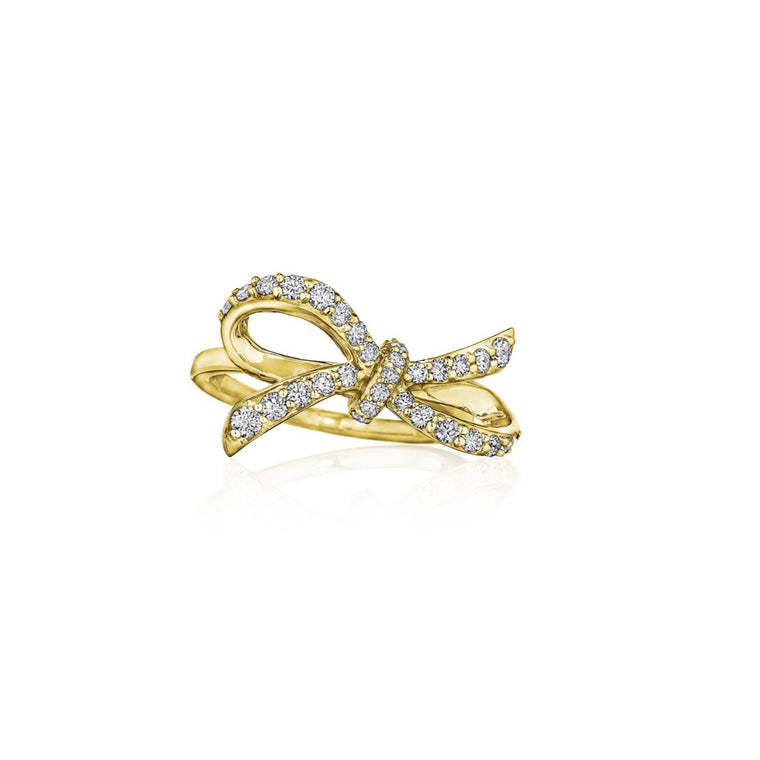 Ribbon ring in yellow gold