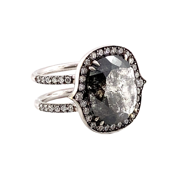 Cushion Rough Diamond Ring - Lesley Ann Jewels