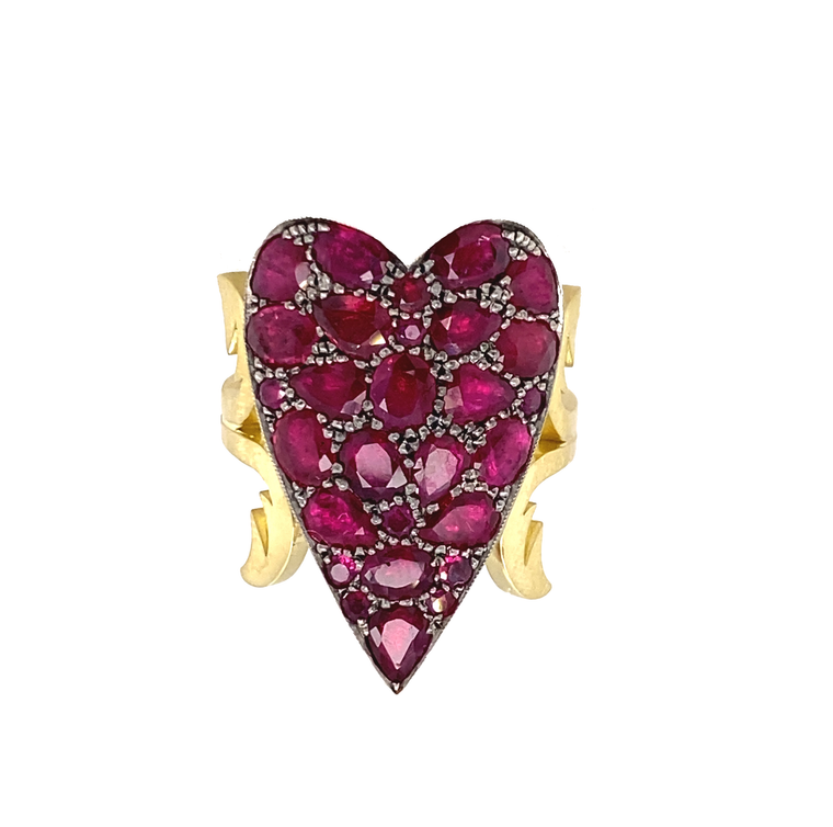 Ruby Ten Table Heart Ring - Lesley Ann Jewels