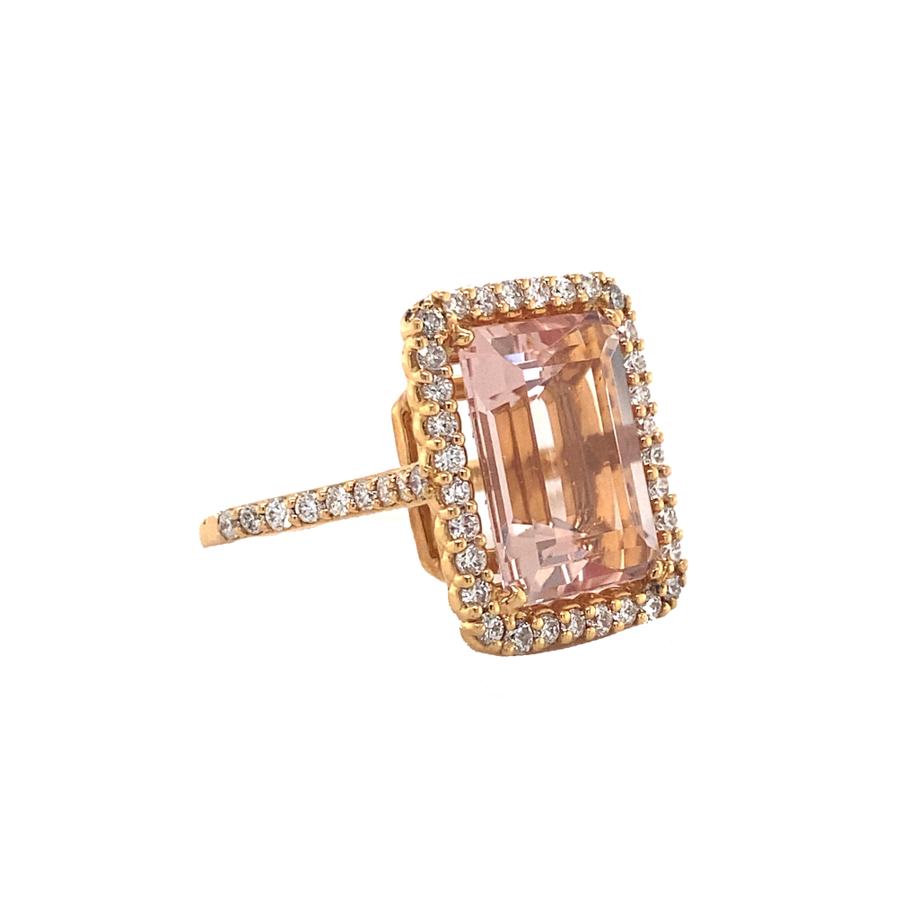 Morganite and Diamond Cocktail Ring - Lesley Ann Jewels