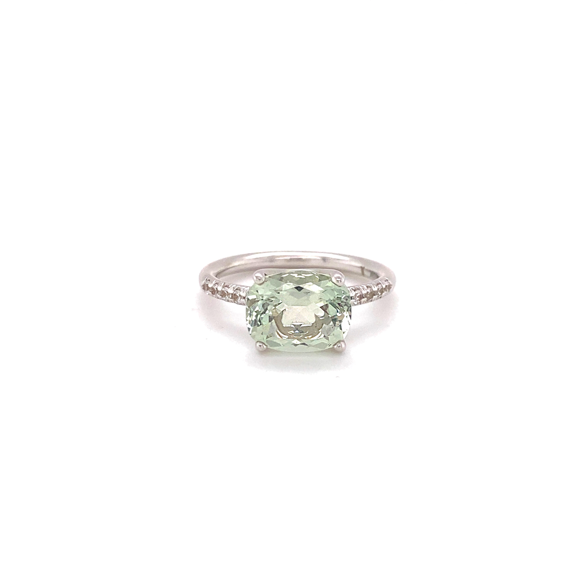 Green Quartz Solitaire Ring - Lesley Ann Jewels