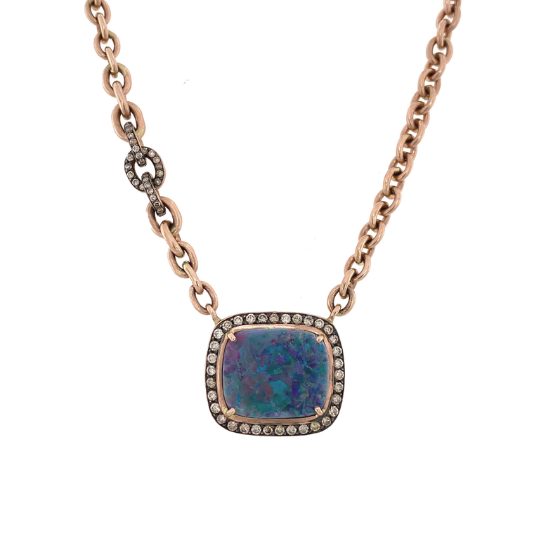Opal Necklace in Rose Gold - Lesley Ann Jewels