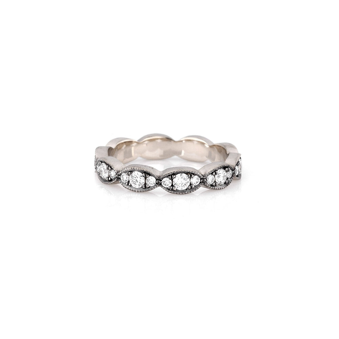 Moval Stack Band with Diamonds - Lesley Ann Jewels