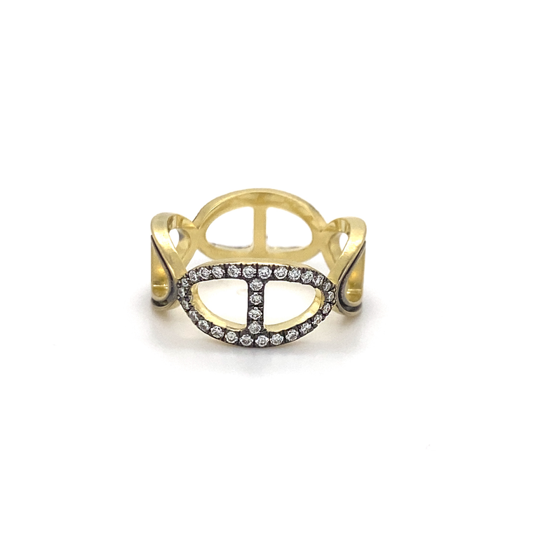 Yellow Gold Diamond Buckle Link Band - Lesley Ann Jewels