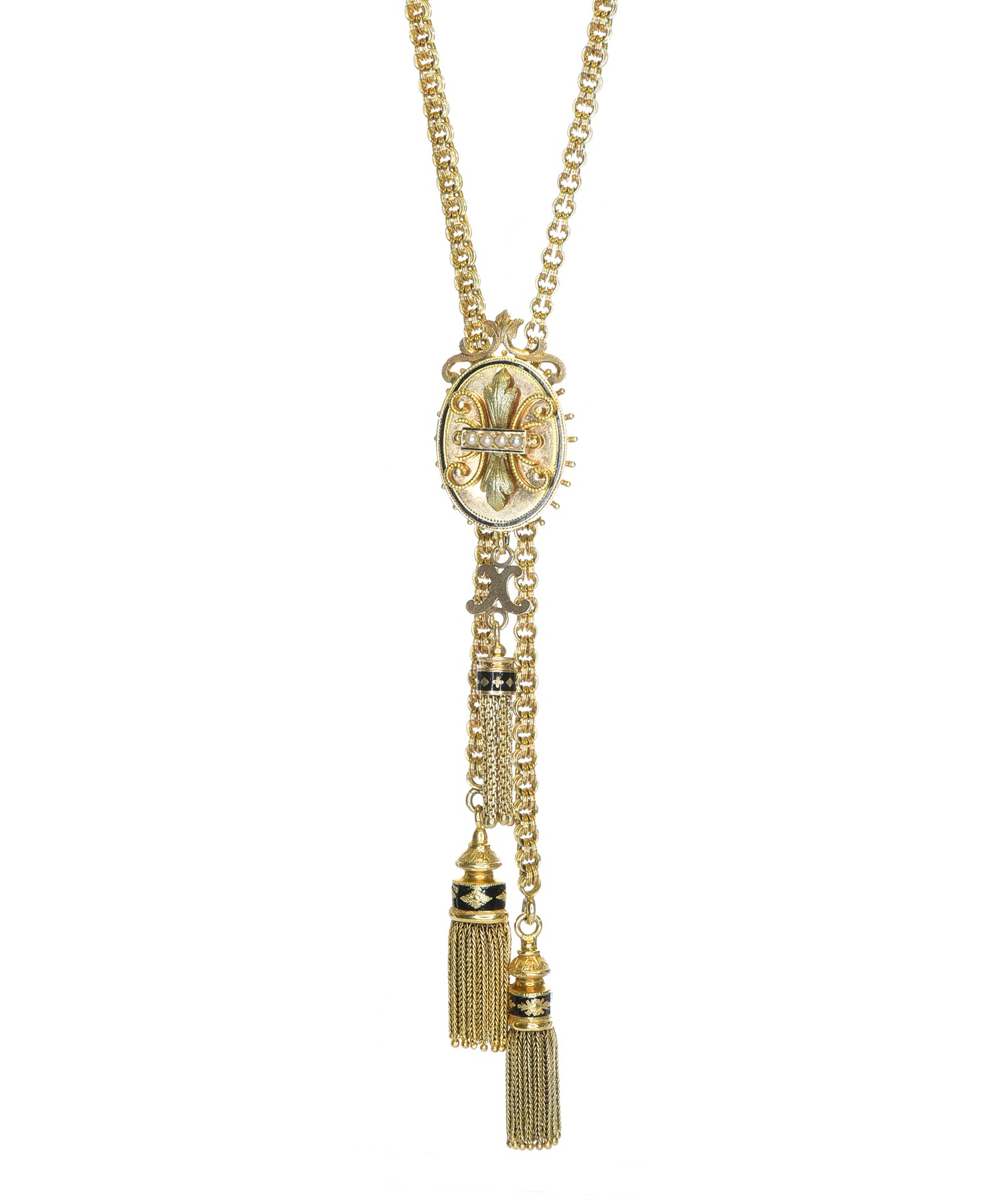 Antique slide necklace with three tassels
