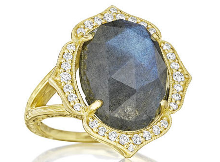 Oval Labradorite and Diamond Ring