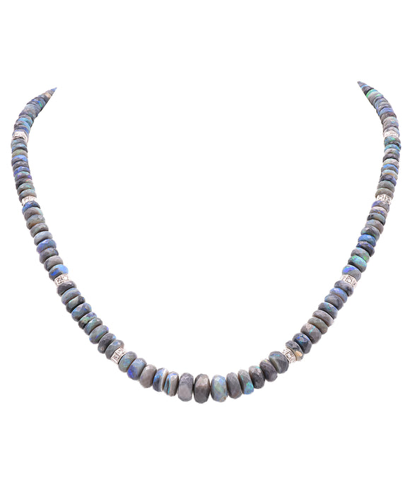 Opal necklace with platinum rondelles