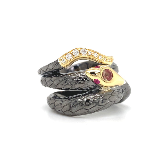Sapphire Coiled Snake Ring - Lesley Ann Jewels