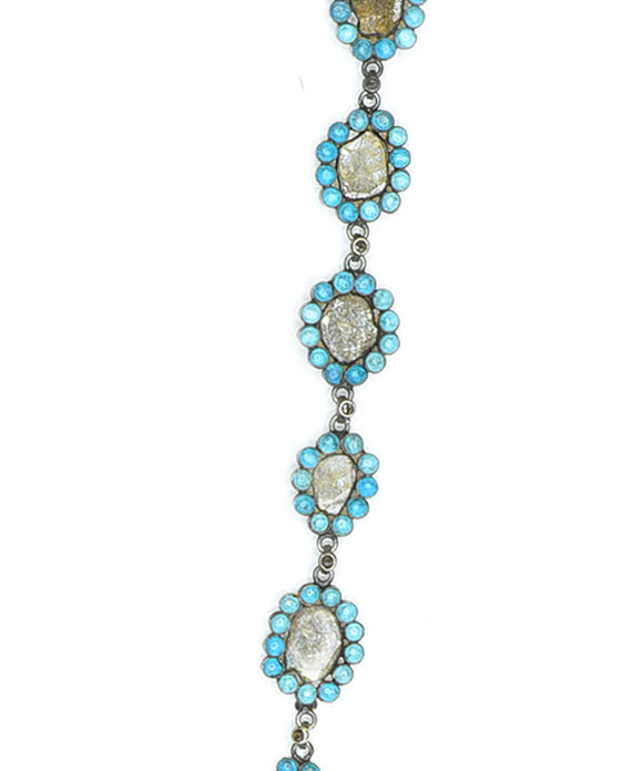 Antique Diamond Slice and Turquoise Necklace - Lesley Ann Jewels