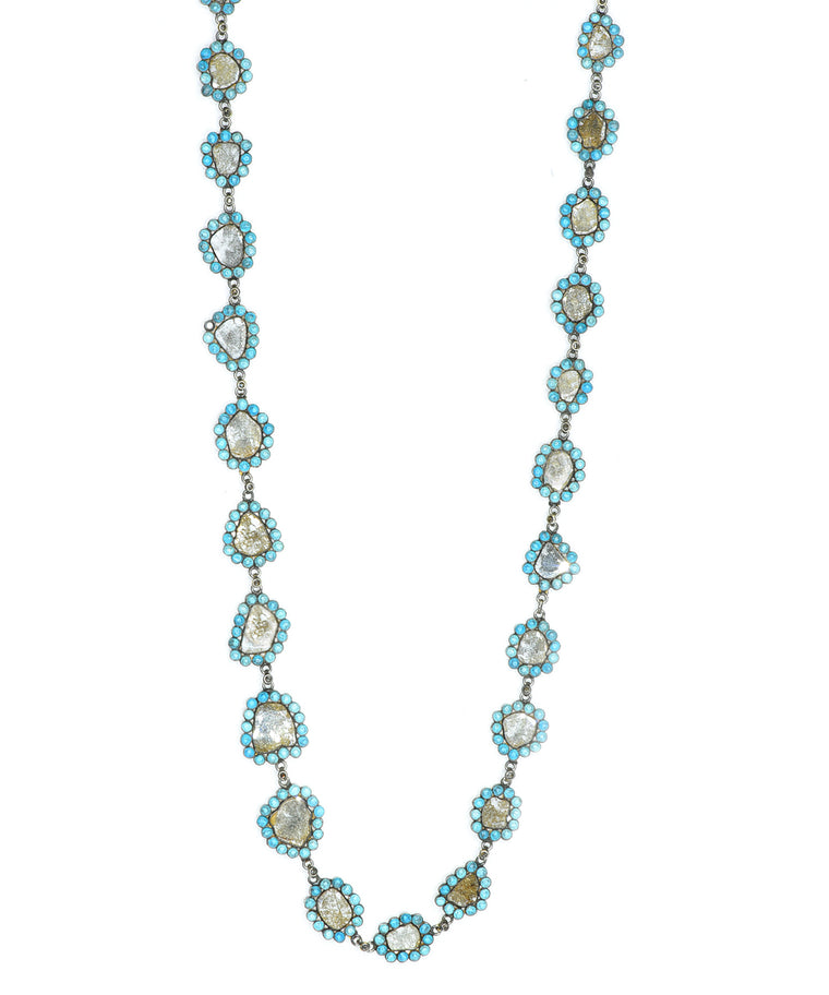 Antique Diamond Slice and Turquoise Necklace
