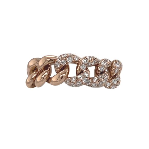 Rose Gold and Diamond Chain Link Ring - Lesley Ann Jewels