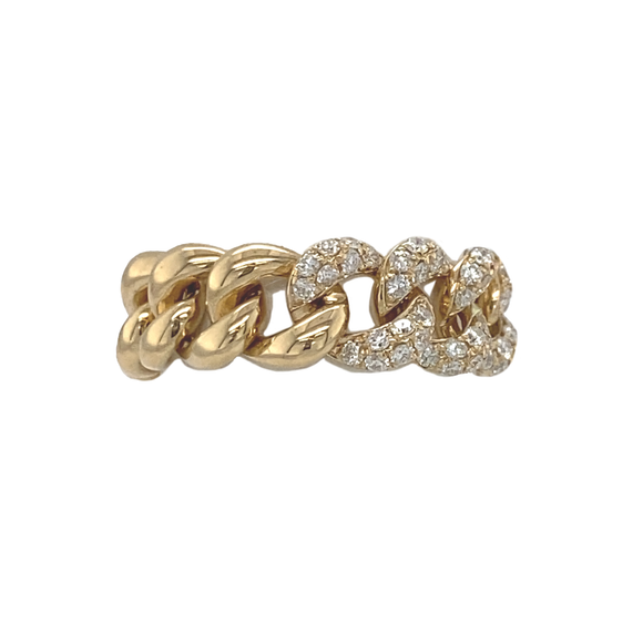 Yellow Gold and Diamond Chain Link Ring - Lesley Ann Jewels