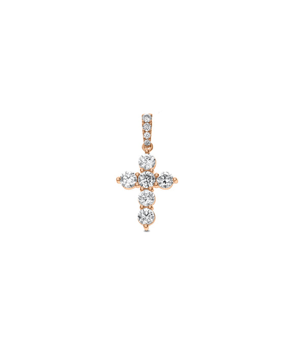 Rose Gold Diamond Cross - Lesley Ann Jewels