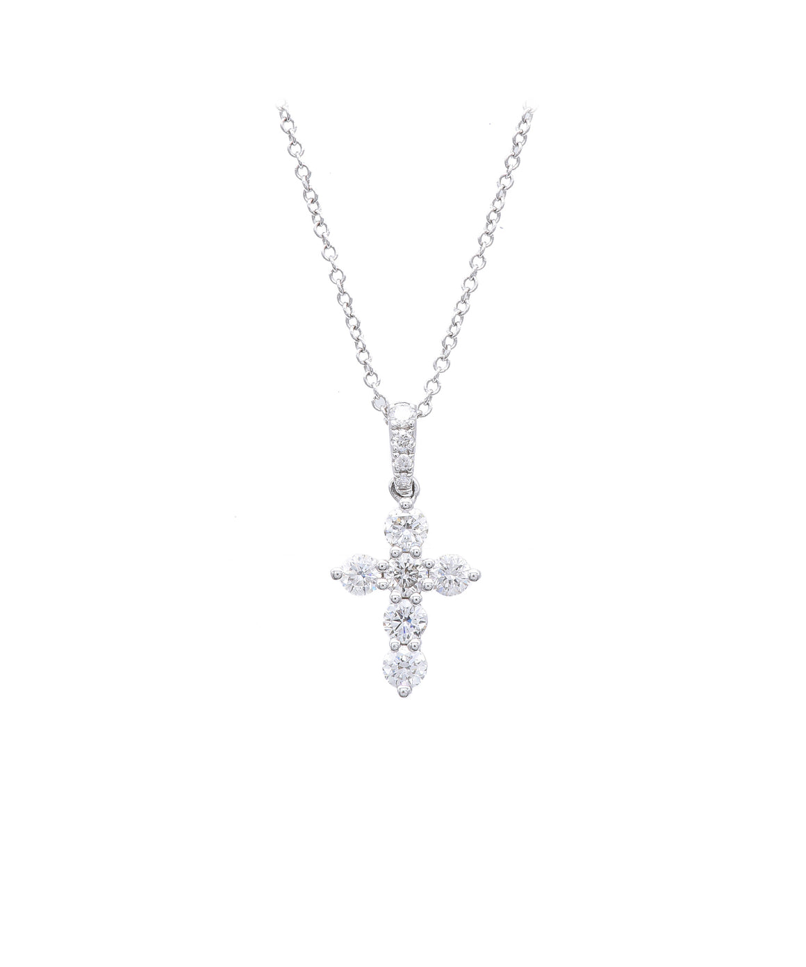 Small Cross with Diamond Bale - Lesley Ann Jewels