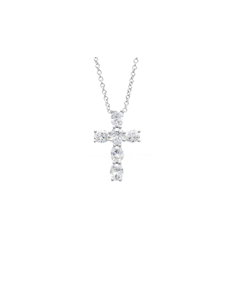 White Gold Diamond Cross - Lesley Ann Jewels