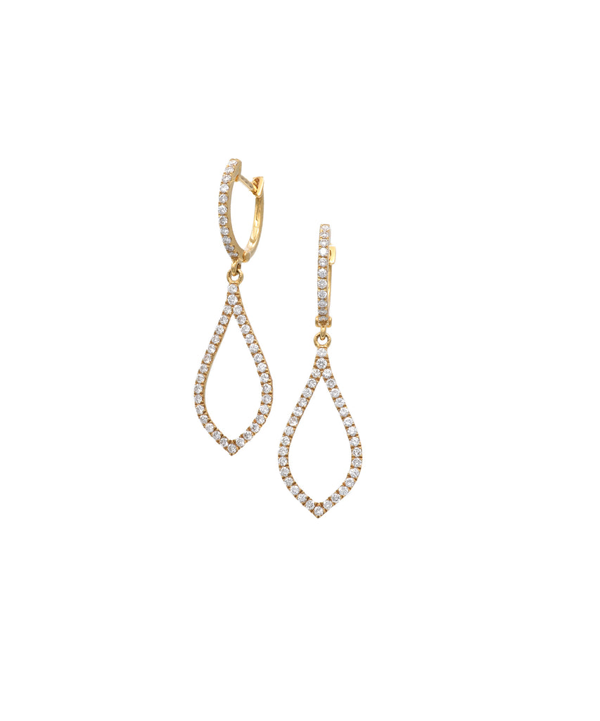 Yellow gold teardrop earrings