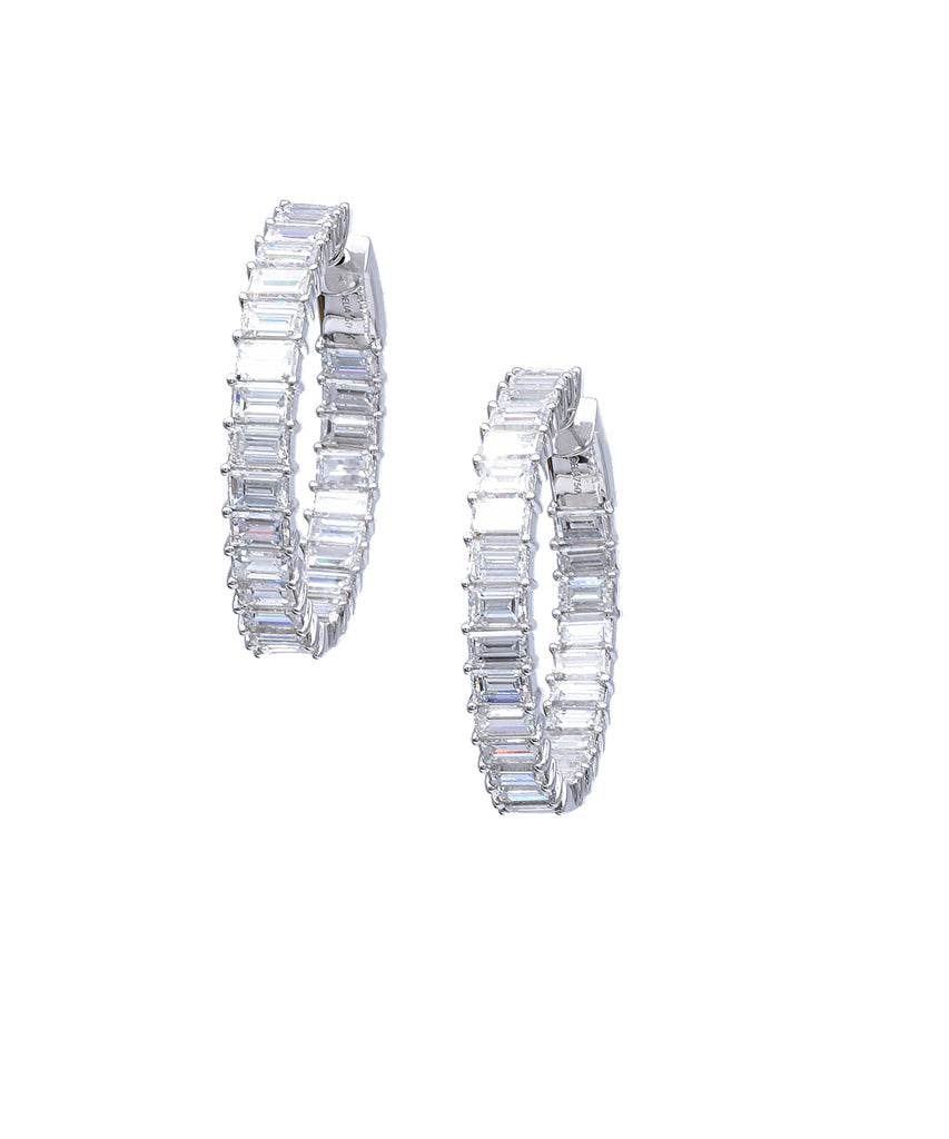 Baguette Diamond Hoop Earrings - Lesley Ann Jewels