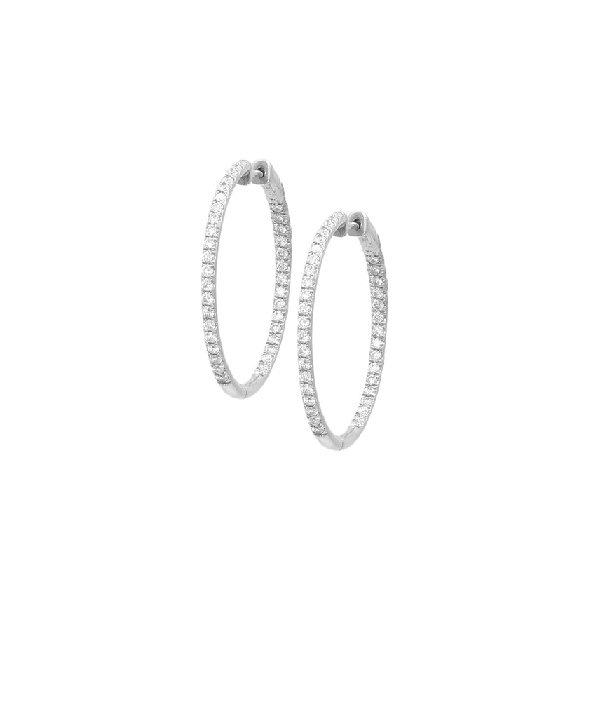 White Gold Diamond Hoop Earrings - Lesley Ann Jewels