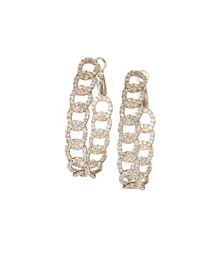 Rose gold chain link diamond earrings