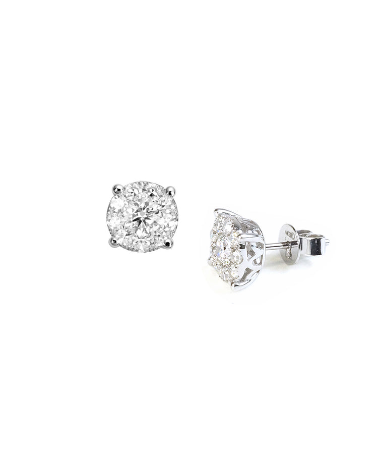 Diamond 1.53 carat tw cluster earrings