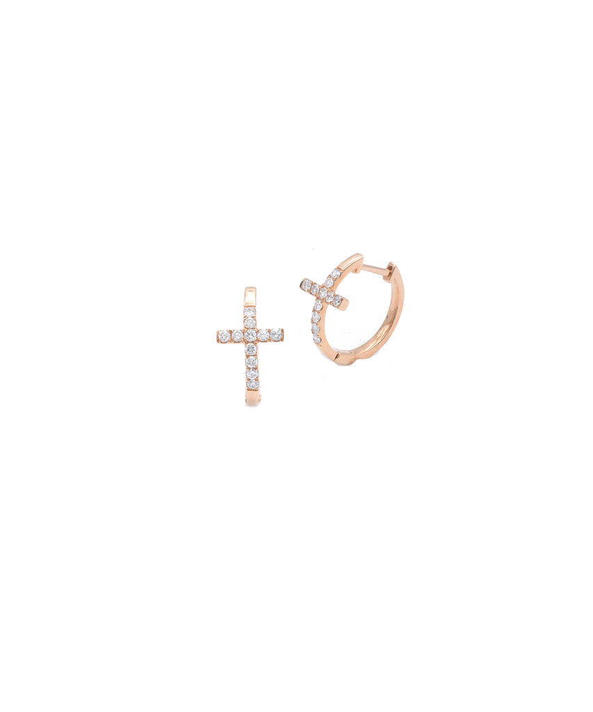 Rose Gold Cross Huggie Earrings - Lesley Ann Jewels