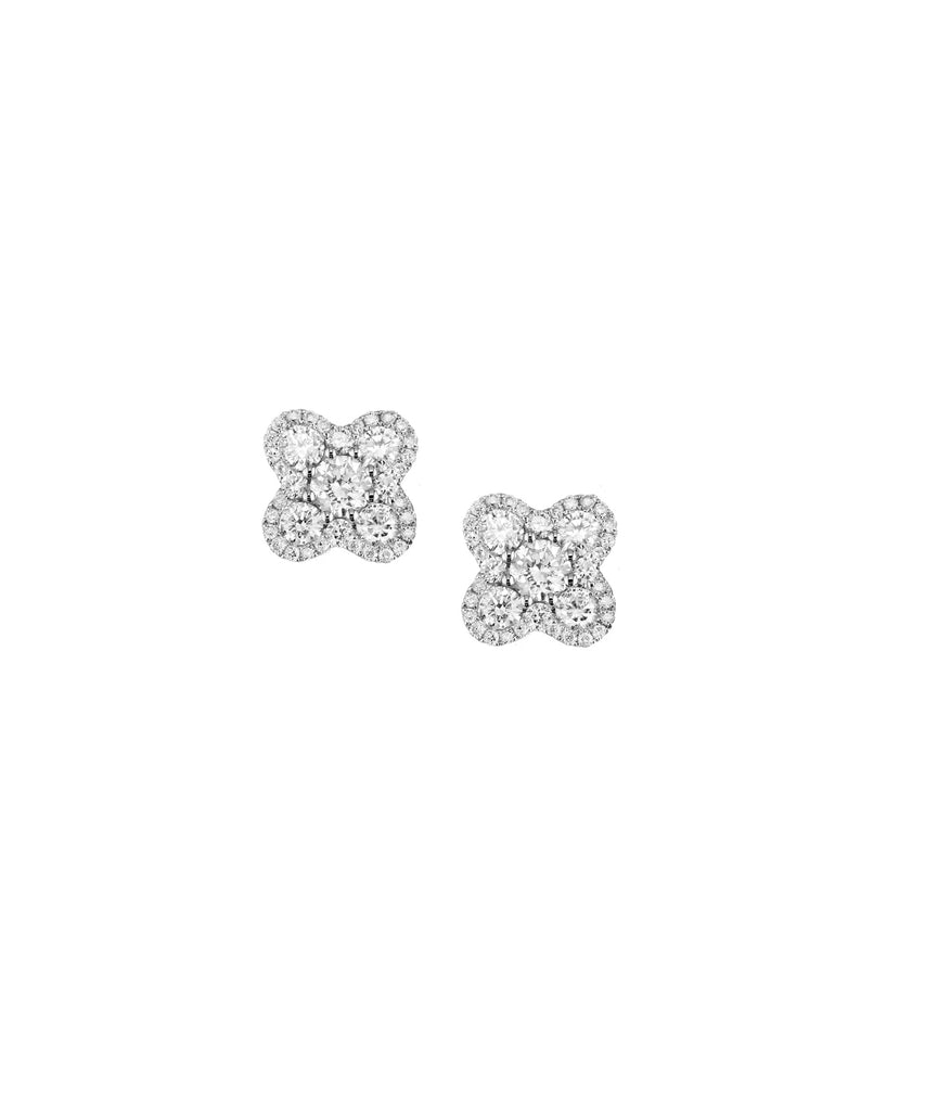 White Gold Diamond Flower Earrings - Lesley Ann Jewels