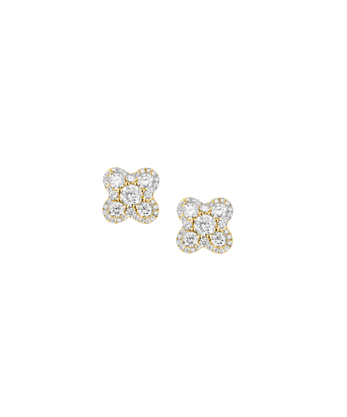 "These delightful 18k yellow gold earrings are cleverly set with diamonds totaling 1.30 carat. The studs are about 3/8"" across."
