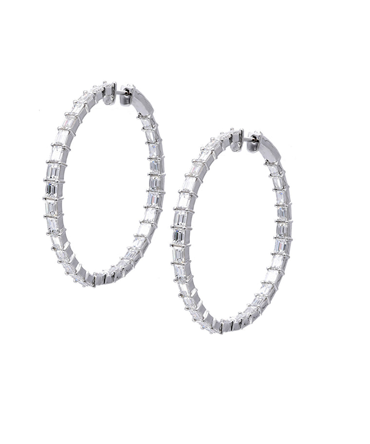 Large Hoops with Emerald Cut Diamonds