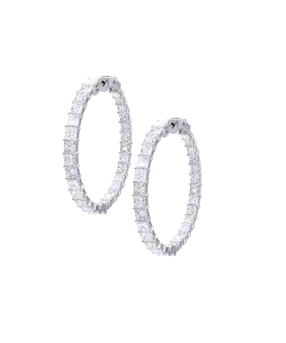Princess Cut Diamond Hoop Earrings - Lesley Ann Jewels