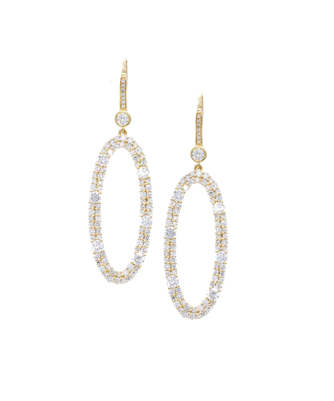 Oval Drop Earrings with Diamonds - Lesley Ann Jewels