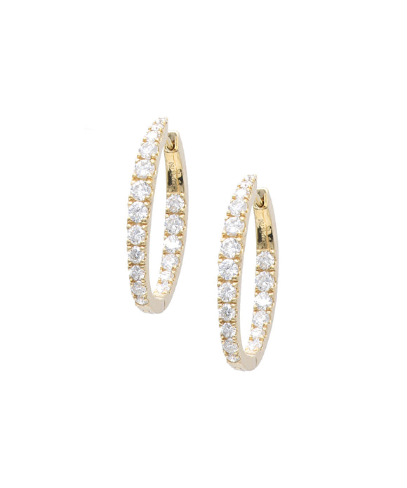 Oval In and Out Diamond Hoop Earrings