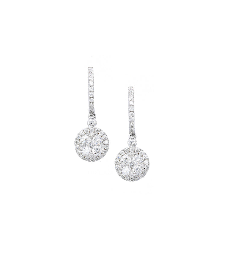 Diamond Drop on Huggie Earrings - Lesley Ann Jewels