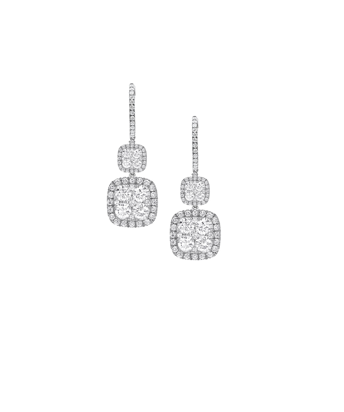 Double Drop Diamond Earrings - Lesley Ann Jewels