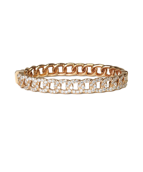 Chain link hinged bangle