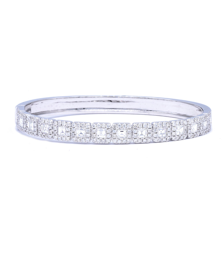 Asscher Cut Diamond Bangle - Lesley Ann Jewels
