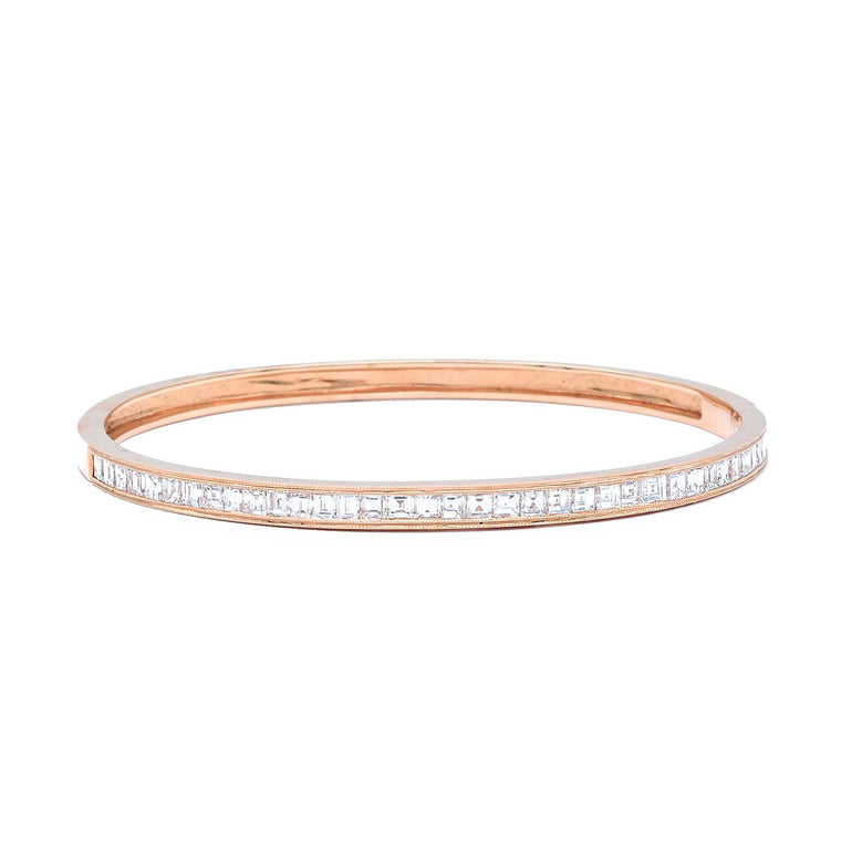 Rose Gold Bangle with Asscher Cut Diamonds - Lesley Ann Jewels