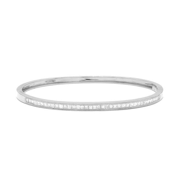 Narrow White Gold Bangle with Asscher Cut Diamonds - Lesley Ann Jewels