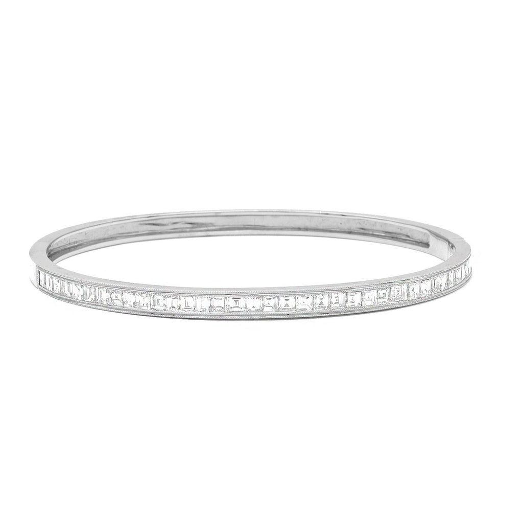 White Gold Bangle with Asscher Cut Diamonds - Lesley Ann Jewels