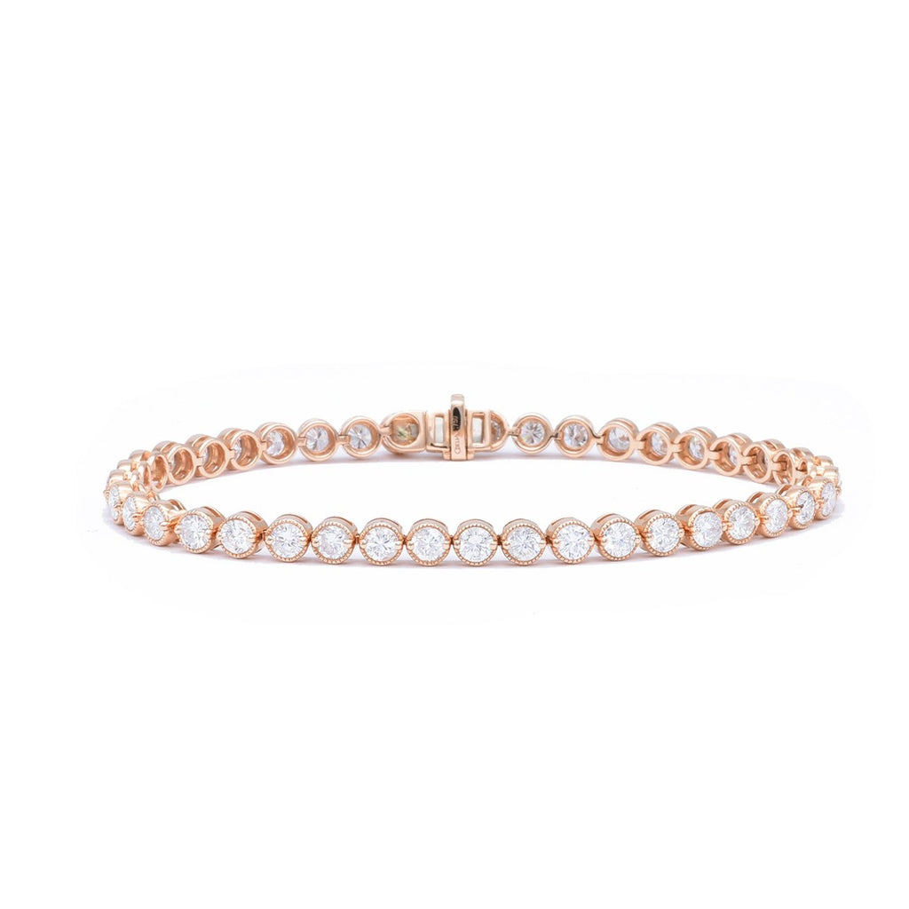 Rose Gold Bezel Line Bracelet - Lesley Ann Jewels