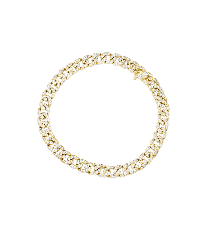 Curb Link Diamond Bracelet in Yellow Gold - Lesley Ann Jewels