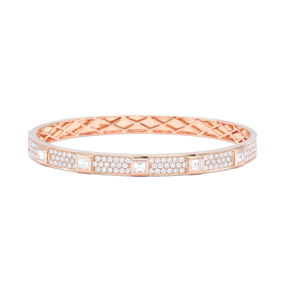 Rose Gold Bangle with Asscher Cut Diamonds