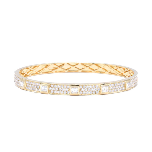Bangle Bracelet with Asscher Cut Diamonds - Lesley Ann Jewels