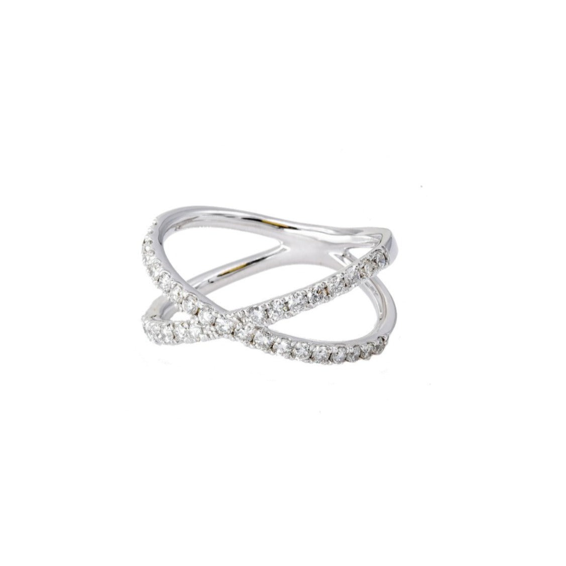 White Gold X Ring - Lesley Ann Jewels