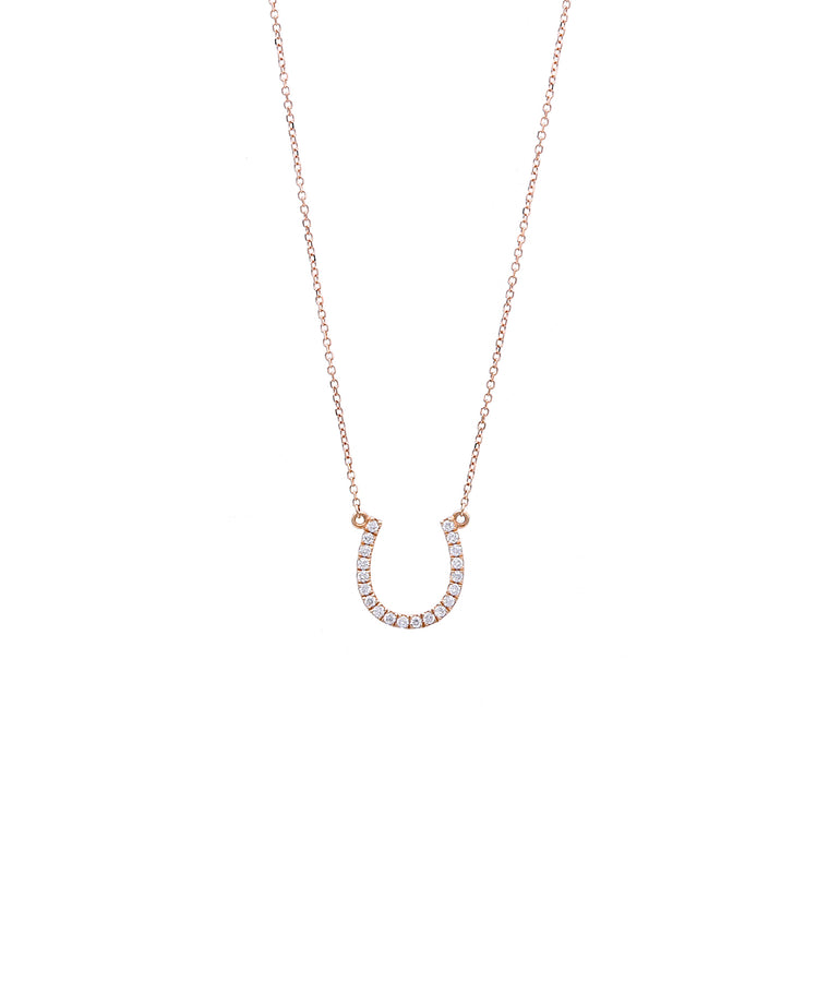 Small Rose Gold Diamond Horseshoe - Lesley Ann Jewels