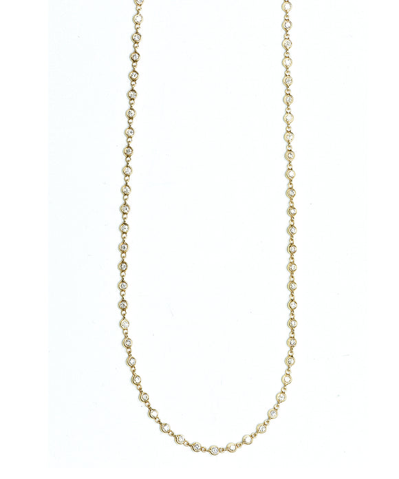 Yellow gold diamond bezel necklace