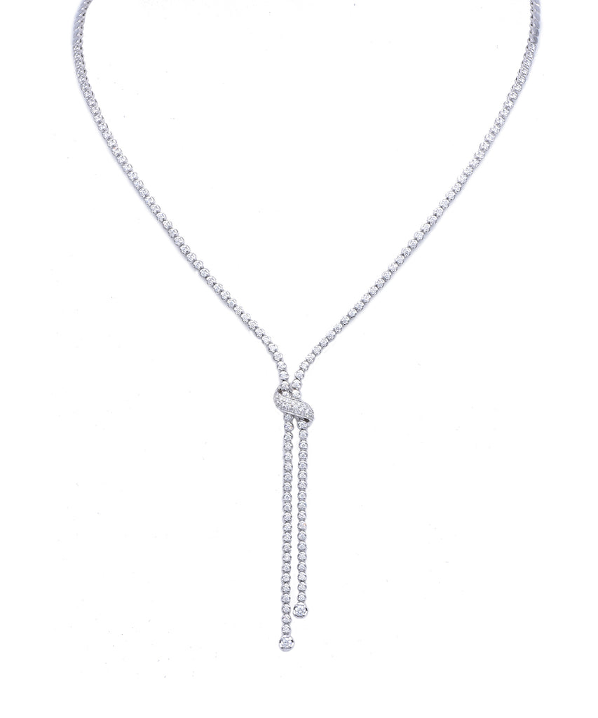 White gold diamond knot necklace