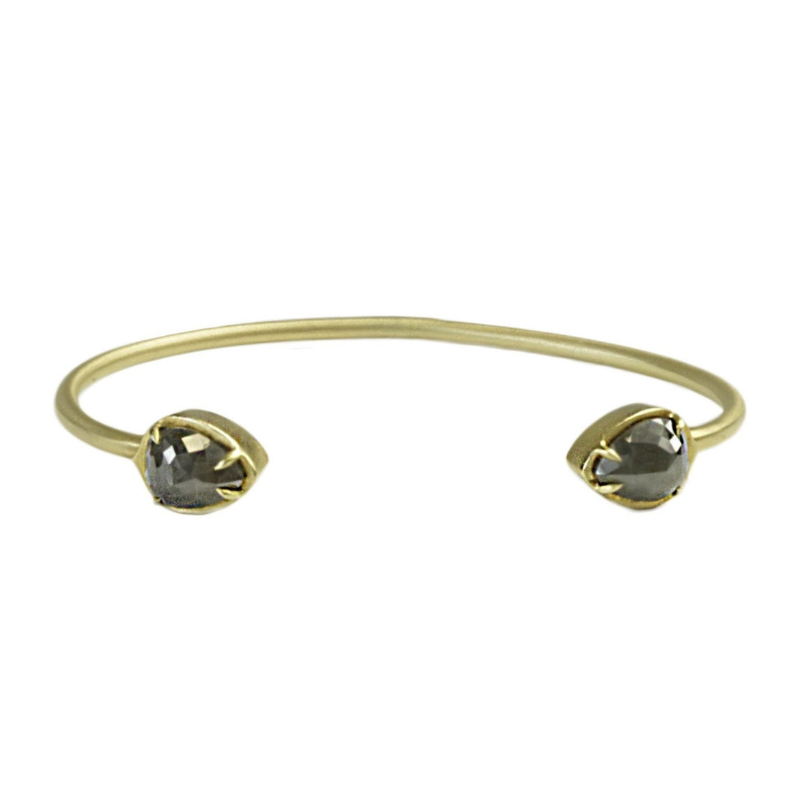 Pear Shaped Rough Diamond Cuff - Lesley Ann Jewels