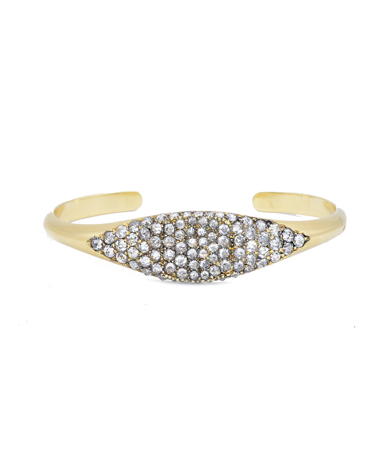 "The 18k yellow gold cuff bracelet is set in the front with dazzling grey diamonds totaling 4.00 carats. The cuff is 1/2"" wide in the front and 2 1/8"" across the inside."