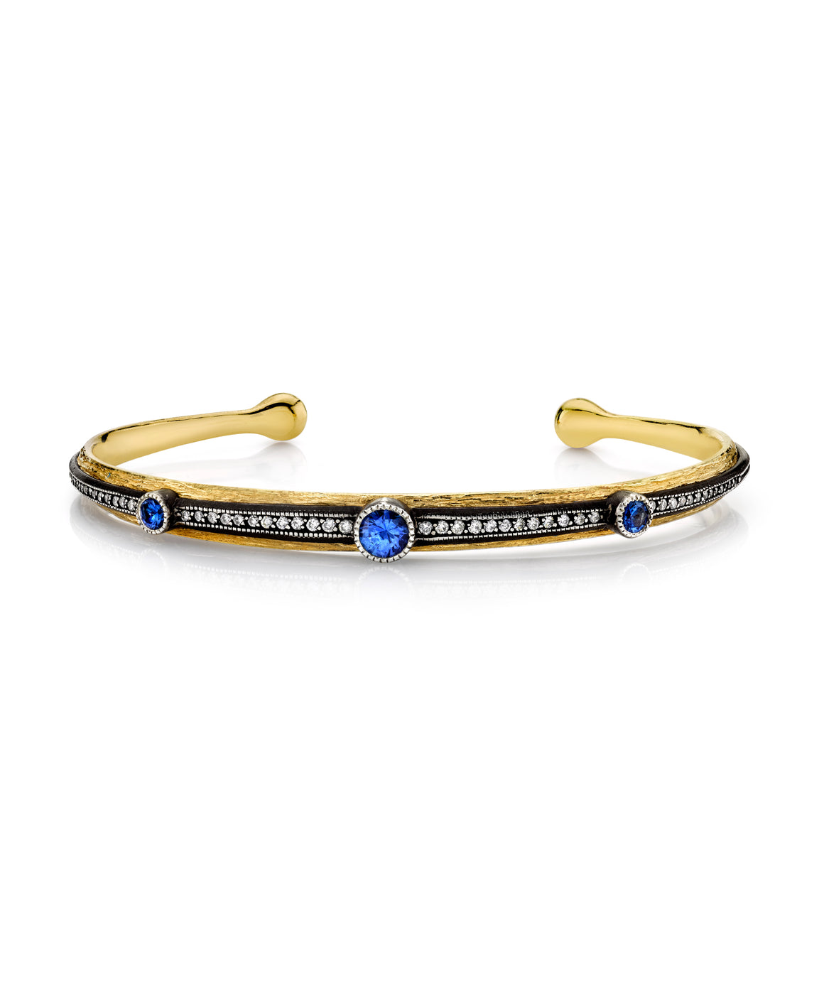 Cuff bracelet with sapphires - Lesley Ann Jewels